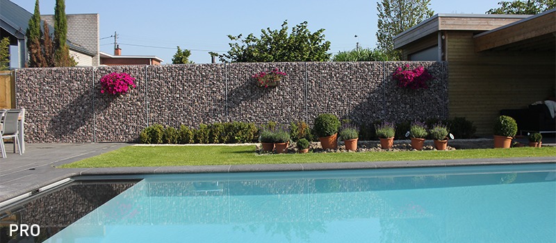 Dekobox Gabiono konstrukcijos, gyvenamasis namas, baseinas, kiemo tvora
